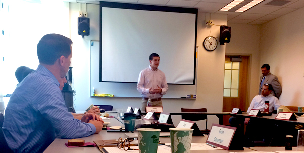Harrison Greenberg presenting to Accounting and Finance Advisory Board