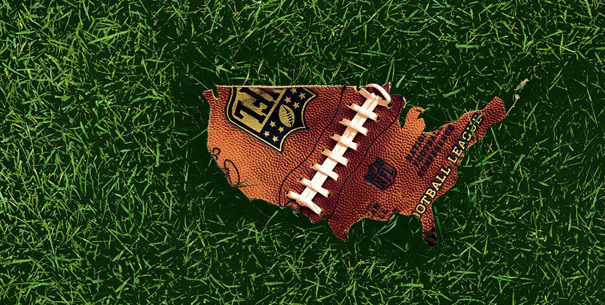 Football leather in the shape of America