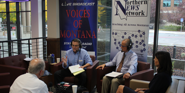 Dean Chris Shook, Bill Whitsitt, and Kate McGoldrick on a live radio show