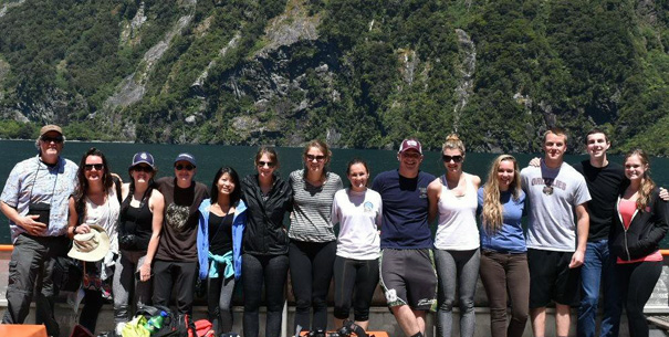 Shawn Clouse with students in New Zealand