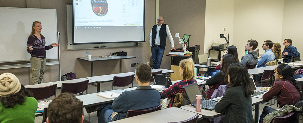 Elise Risho, UM business alum and co-owner of Silk Road Catering, is a guest speaker during Professor of Accounting Josh Herbold's Accounting Data Analytics class in February.