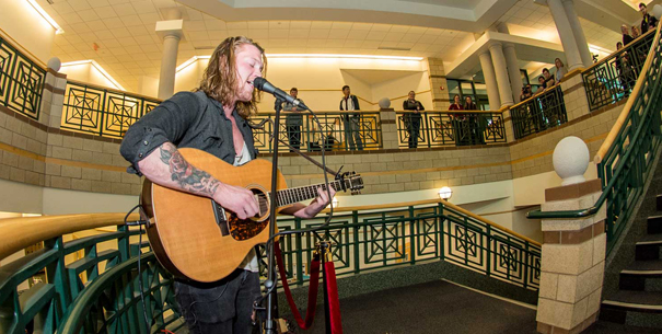 Eli Nordstrom performing at the Stair Sessions