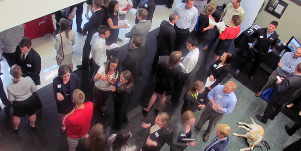 Overhead view of Meet the Firms