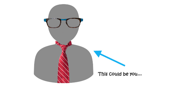 This could be you next to blank image wearing a tie and our dean's glasses