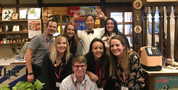 Tessa Feemster and group at SoBA alumnus's restaurant in Japan
