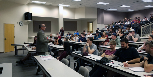 New students in classroom for Orientation