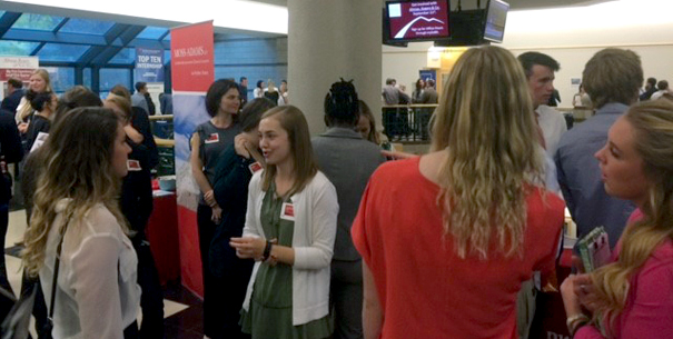 Organization reps and students participating in Meet the Firms
