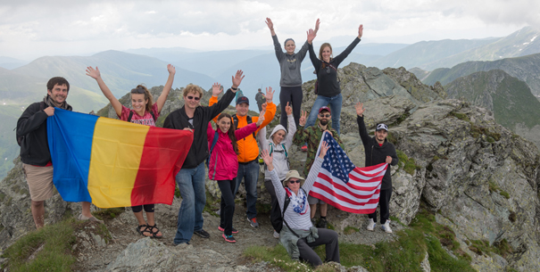 Students hiking in Romania