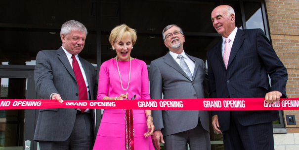 Dean Gianchetta, Harold and Priscilla Gilkey, and President Engstrom at Gilkey grand opening