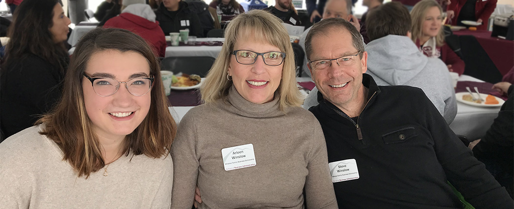 Arleen and Steve Winslow with business student and Winslow Family Scholarship recipient Carmyn Wahl at the brunch.