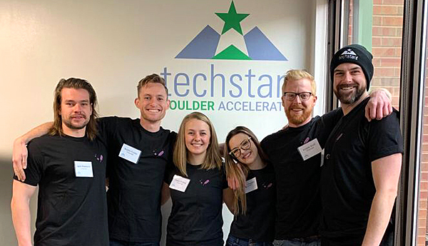 Three UM members of the Charmed team already are in Colorado participating in the Techstars Boulder Accelerator program. They are Kassi Strong (third from left), Krister Kroll (second from right) and Taylor Margot (far right).