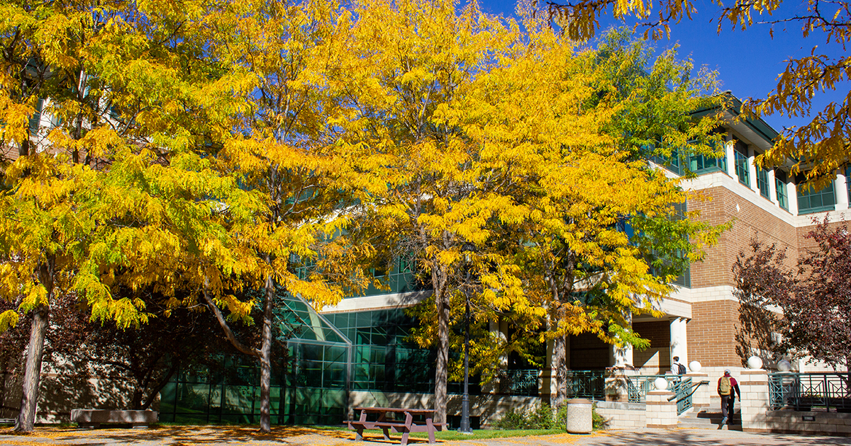 Gallagher Business Building in the fall